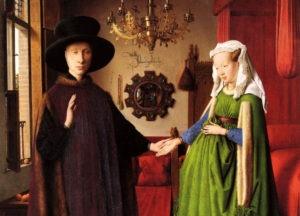 """""""پرتره آلفورينى"""" يا """"ازدواج آلفورينى"""" اثر نقاش هلندى جان وان آيك از نقاشان هلند آغازين"""